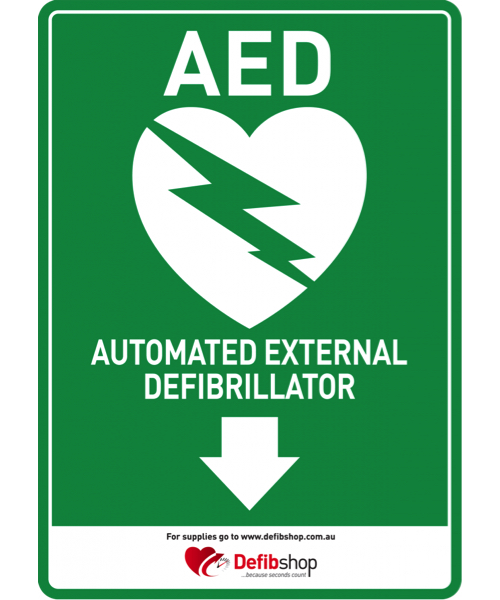 AED sign arrow downwards