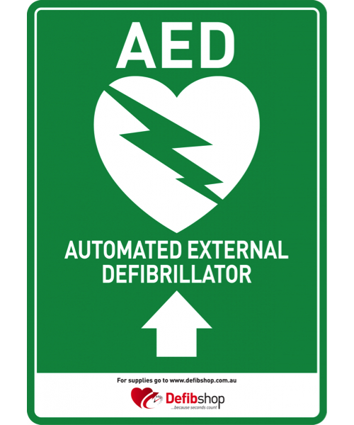 AED sign arrow upwards